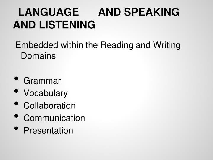 LANGUAGEAND SPEAKING AND LISTENING