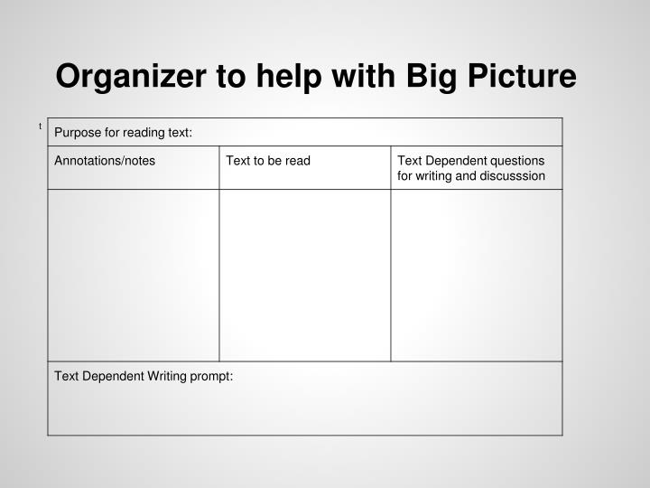 Organizer to help with Big Picture