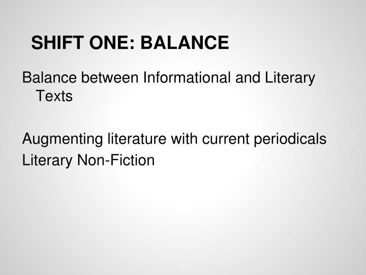 SHIFT ONE: BALANCE