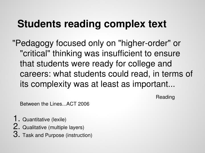 Students reading complex text