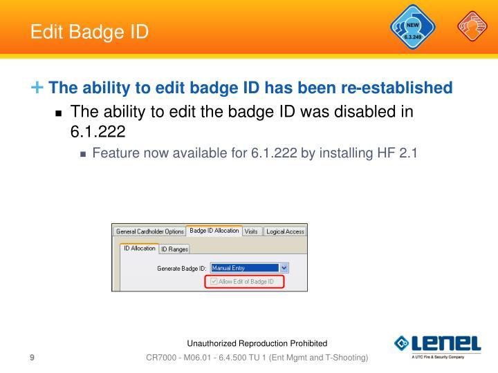 Edit Badge ID