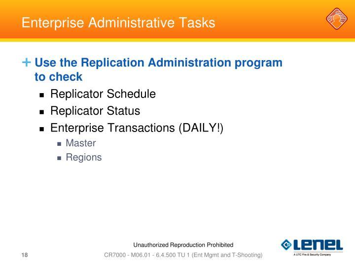 Enterprise Administrative Tasks