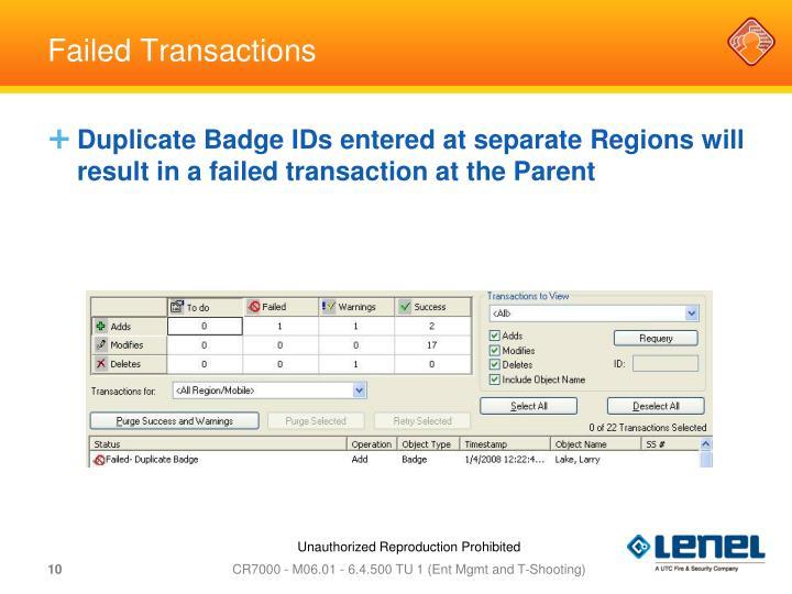 Failed Transactions