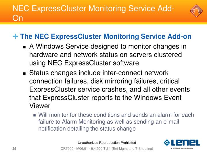 NEC ExpressCluster Monitoring Service Add-On