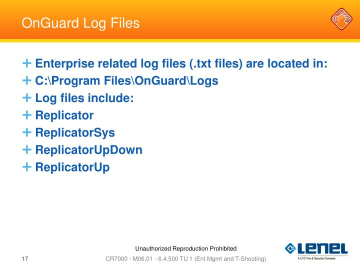 OnGuard Log Files