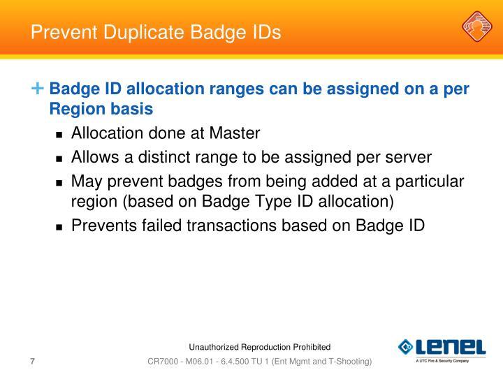 Prevent Duplicate Badge IDs