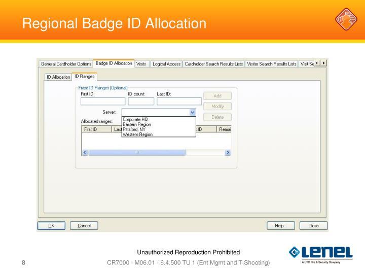 Regional Badge ID Allocation