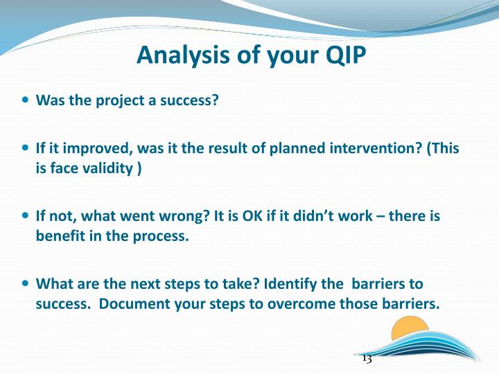 Analysis of your QIP