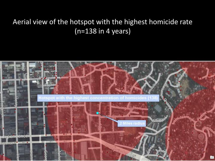 Aerial view of the hotspot with the highest homicide rate (n=138 in