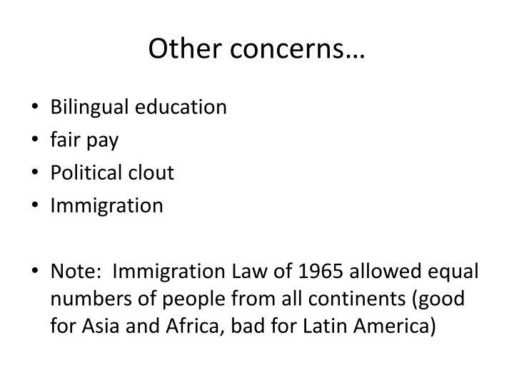 Other concerns…
