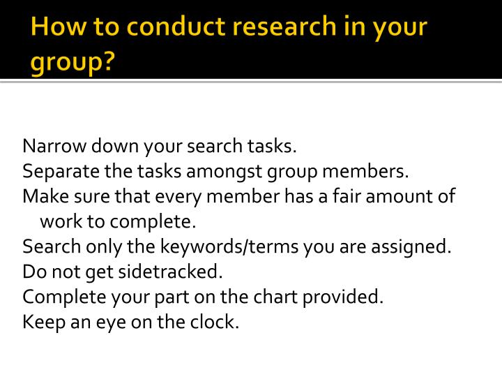 How to conduct research in your group?