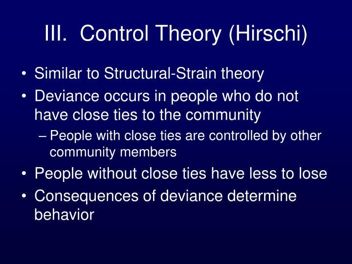 III.  Control Theory (Hirschi)