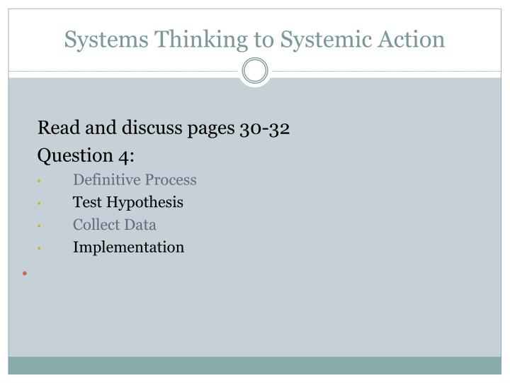 Systems Thinking to Systemic Action