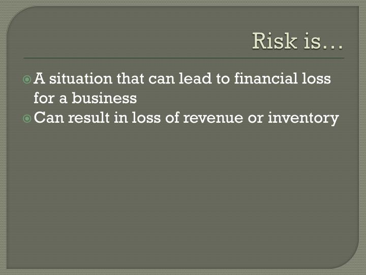 Risk is…