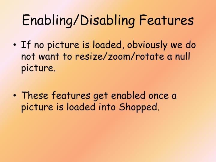 Enabling/Disabling Features