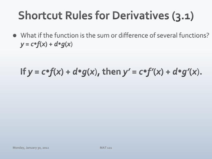 Shortcut Rules for Derivatives (3.1)