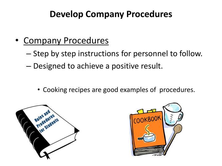 Develop Company Procedures