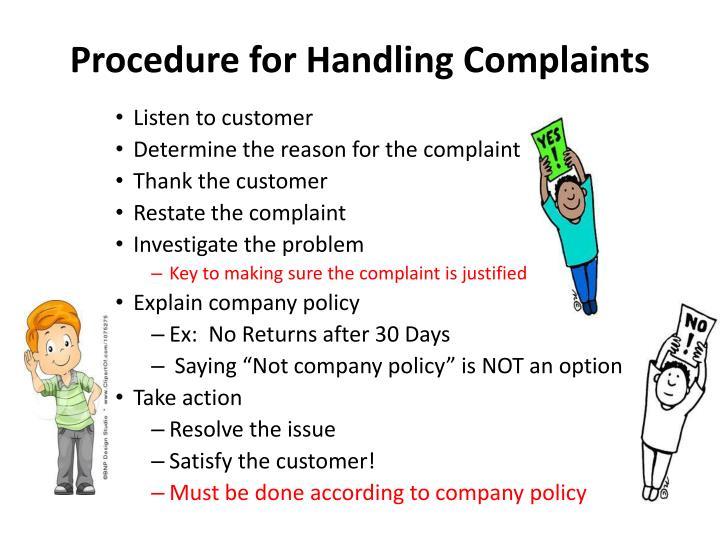 Procedure for Handling Complaints