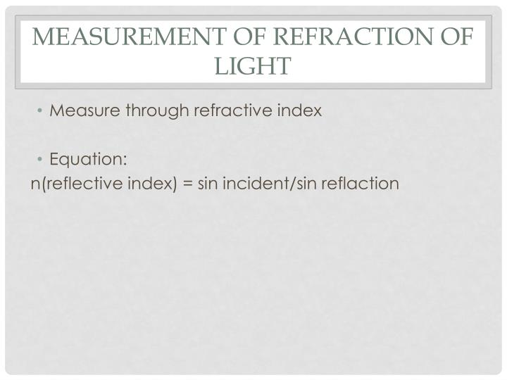 Measurement of refraction of light