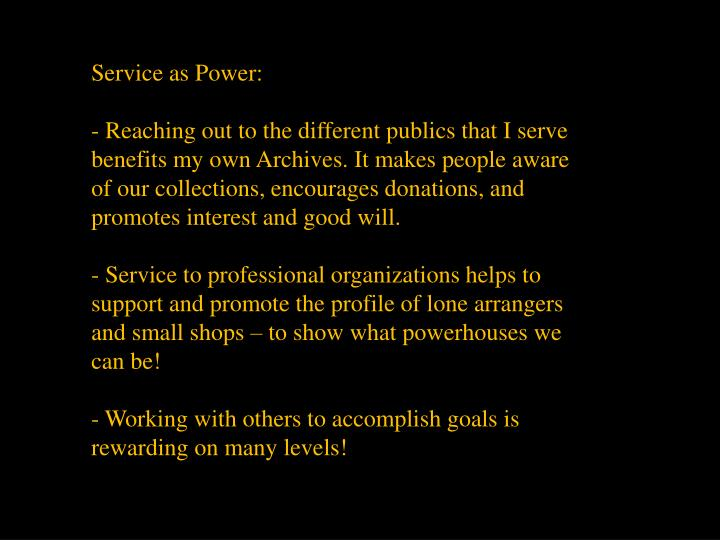 Service as Power:
