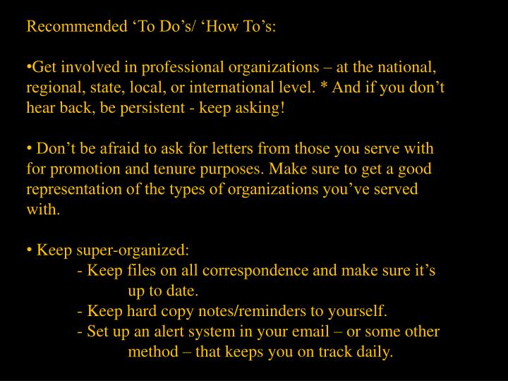 Recommended 'To Do's/ 'How