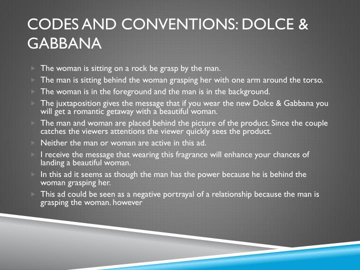 Codes and conventions: dolce &
