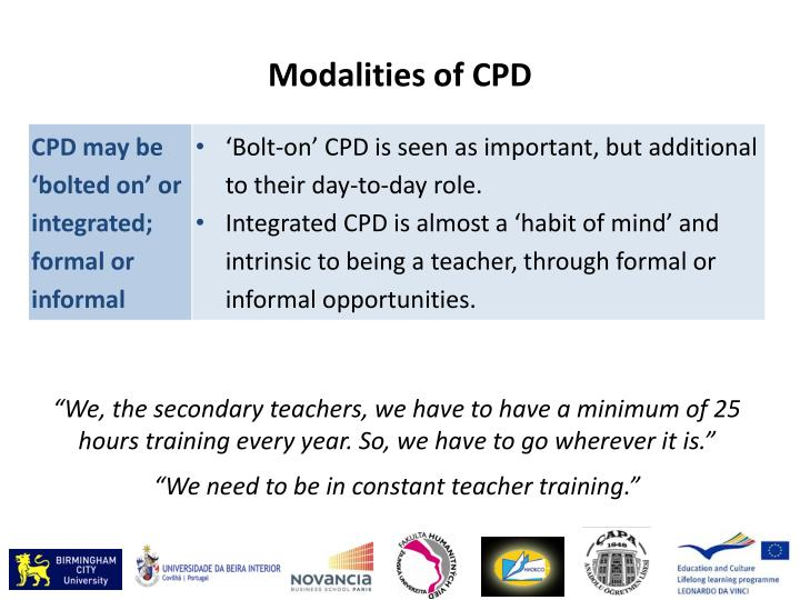 Modalities of CPD