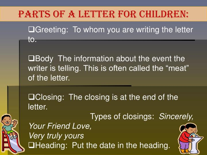 Parts of a Letter for children: