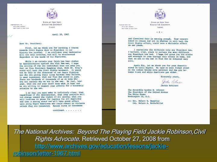 The National Archives:  Beyond The Playing Field Jackie Robinson,Civil Rights Advocate.