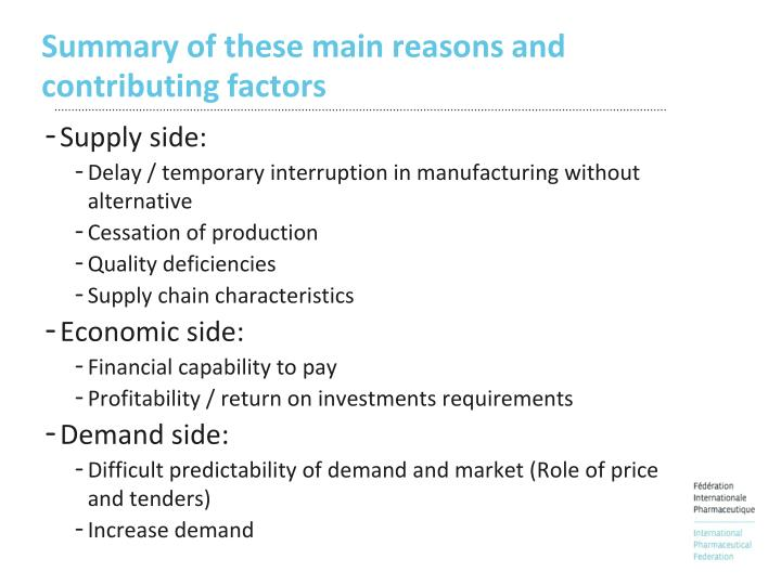 Summary of these main reasons and contributing factors