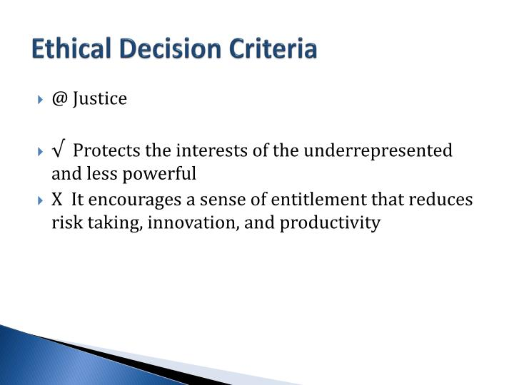 Ethical Decision Criteria