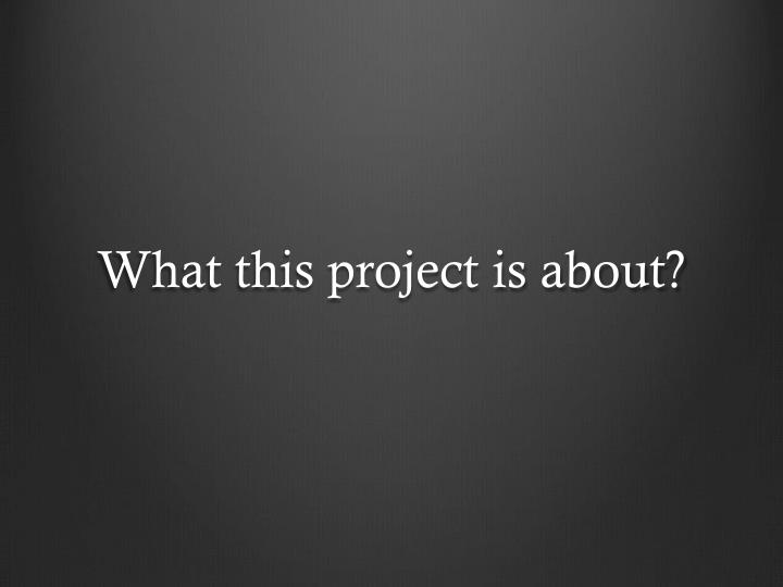 What this project is about?