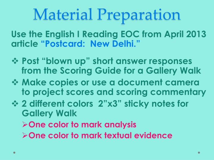 Material Preparation
