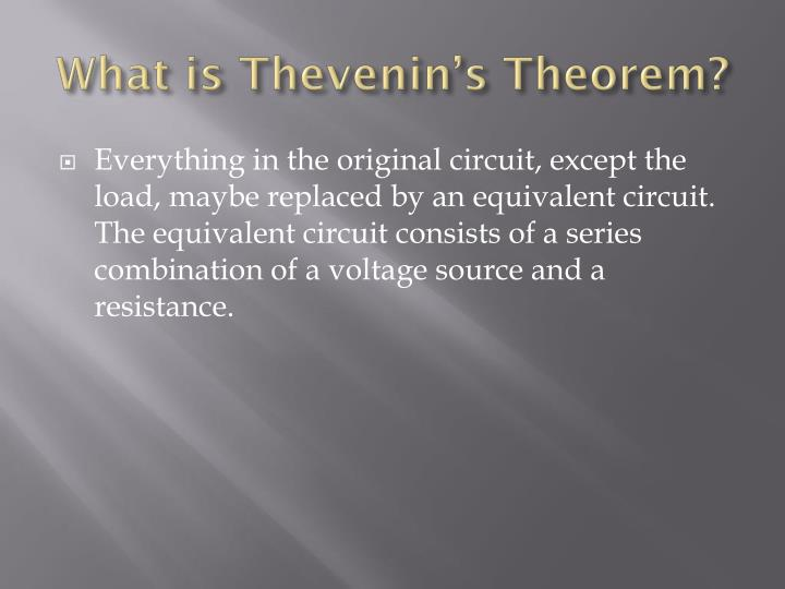 What is Thevenin's Theorem?
