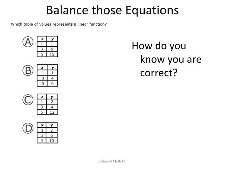 Balance those Equations