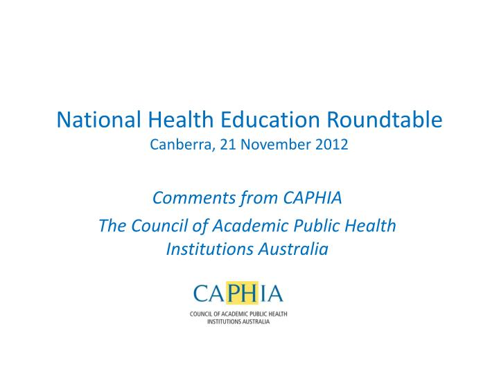 National health education roundtable canberra 21 november 2012