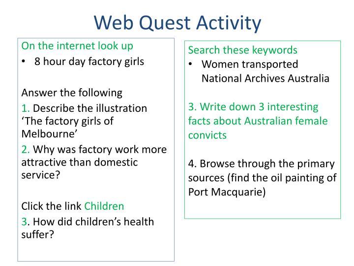 Web Quest Activity