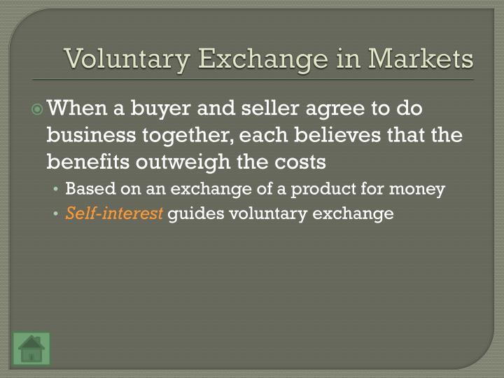 Voluntary Exchange in Markets