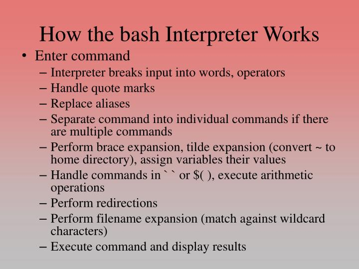How the bash Interpreter Works