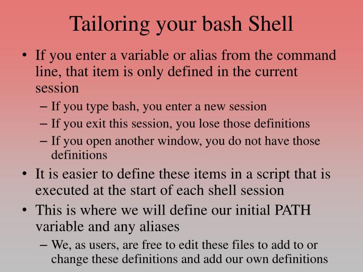 Tailoring your bash Shell