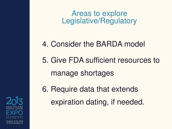 Areas to explore Legislative/Regulatory