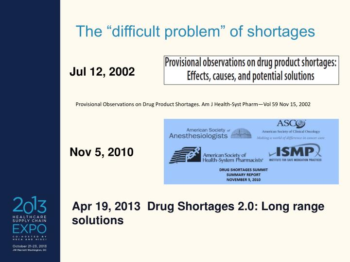 """The """"difficult problem"""" of shortages"""