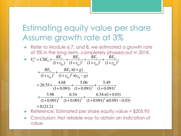Estimating equity value per share