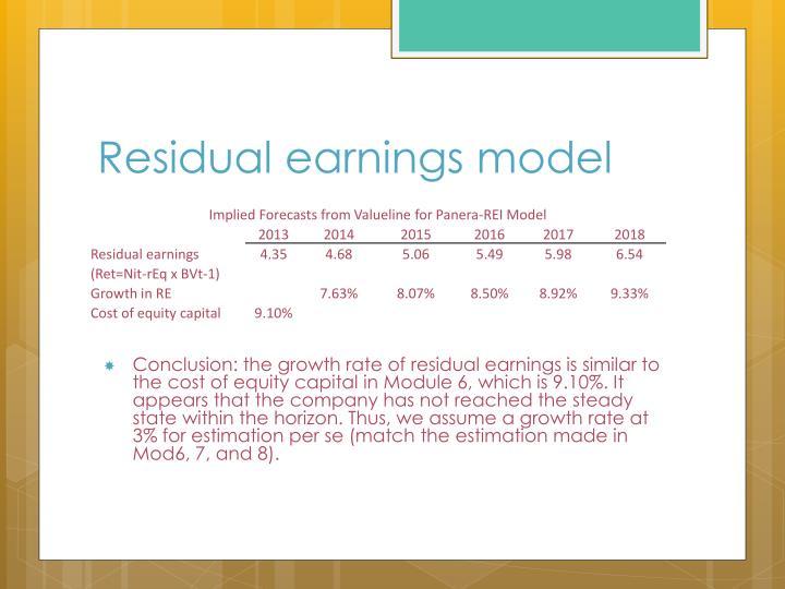 Residual earnings model