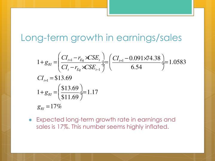 Long-term growth in earnings/sales