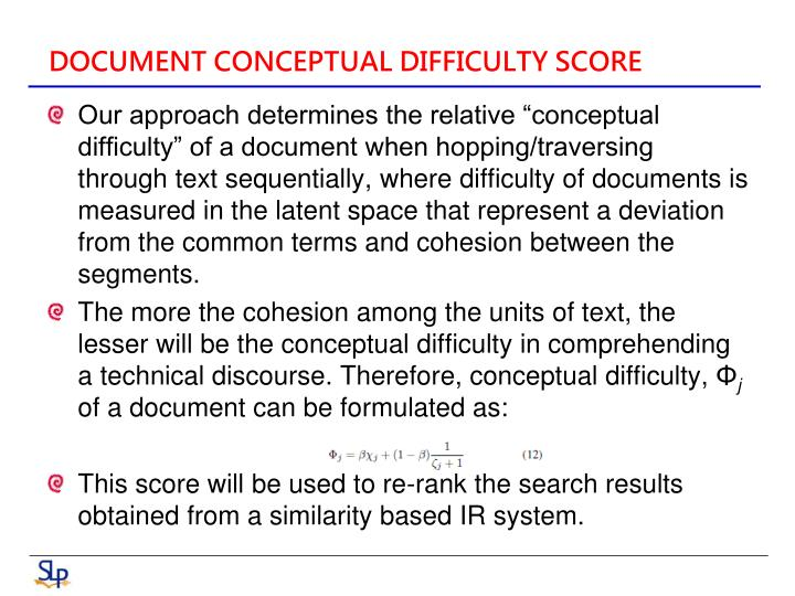 DOCUMENT CONCEPTUAL DIFFICULTY SCORE