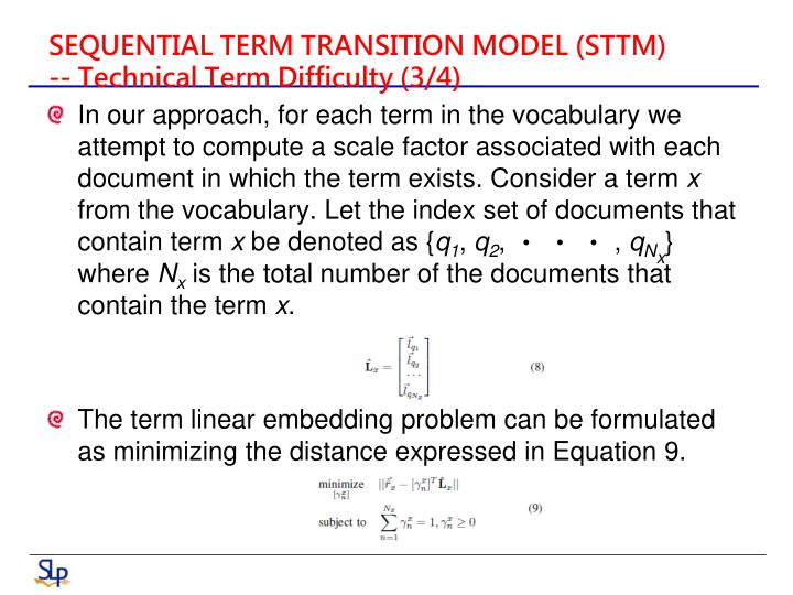 SEQUENTIAL TERM TRANSITION MODEL (STTM)