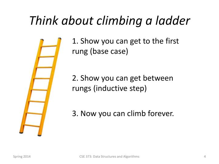 Think about climbing a ladder