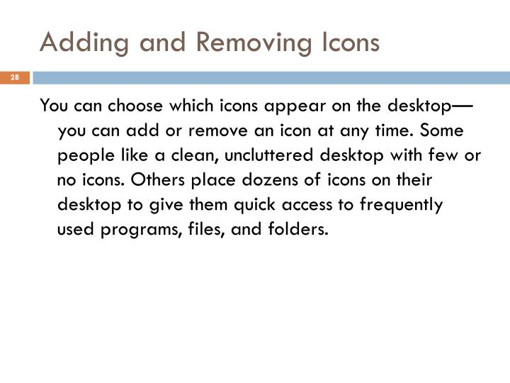 Adding and Removing Icons
