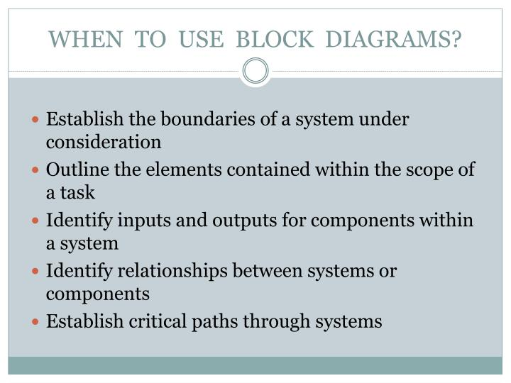 WHEN  TO  USE  BLOCK  DIAGRAMS?